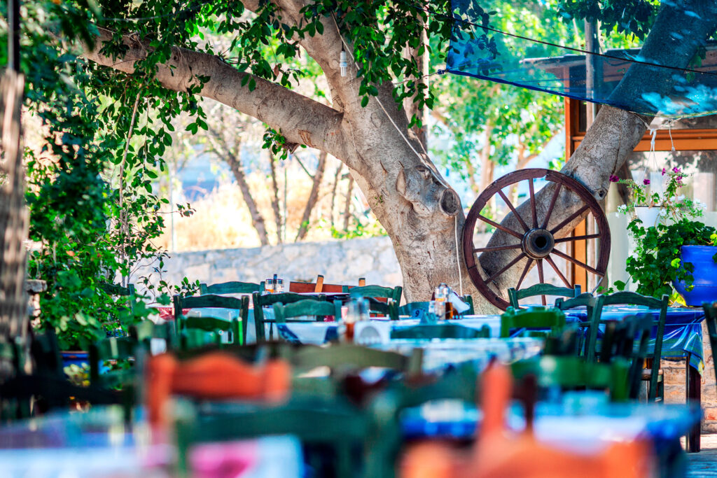 Tavern in small seaside, southern town of Tilos, Dodecanese Greece