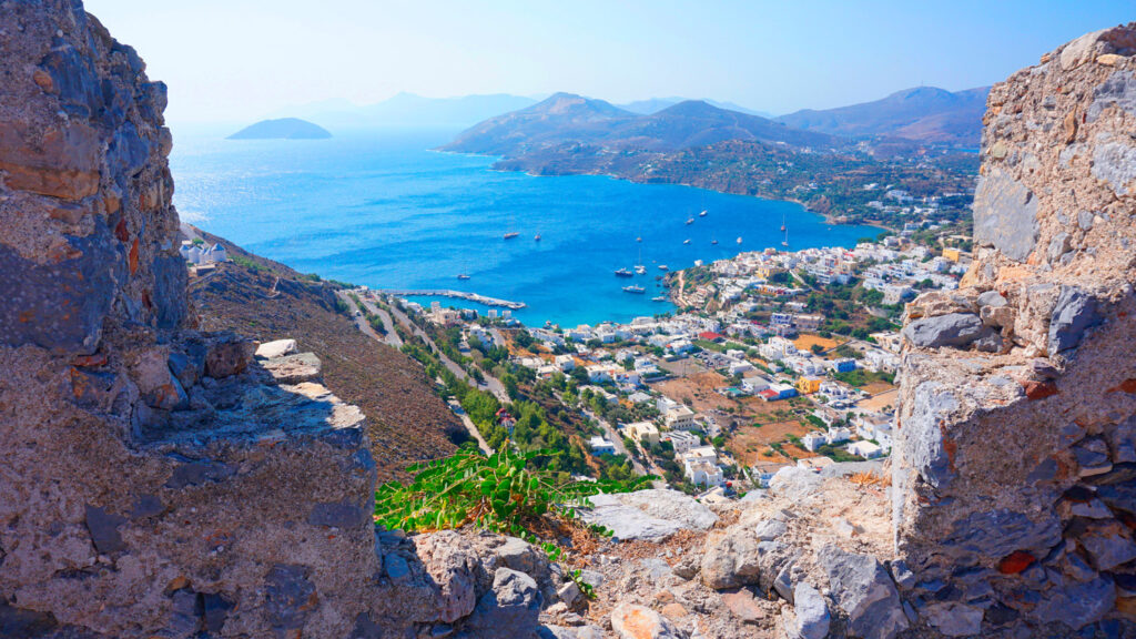 View from the iconic Castle of Panteli in Leros island, Dodecanese Greece