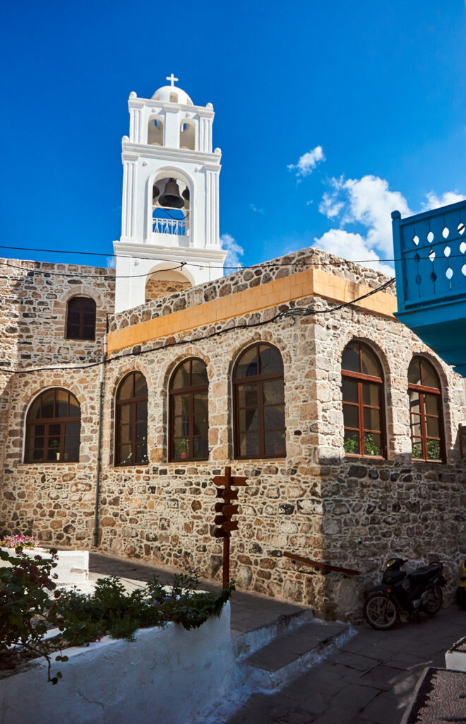 Belltower of Greek orthodox church in Nisyros, Dodecanese Greece