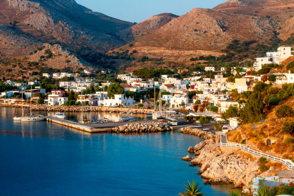 Livadia town and main port of Tilos island, Dodecanese Greece