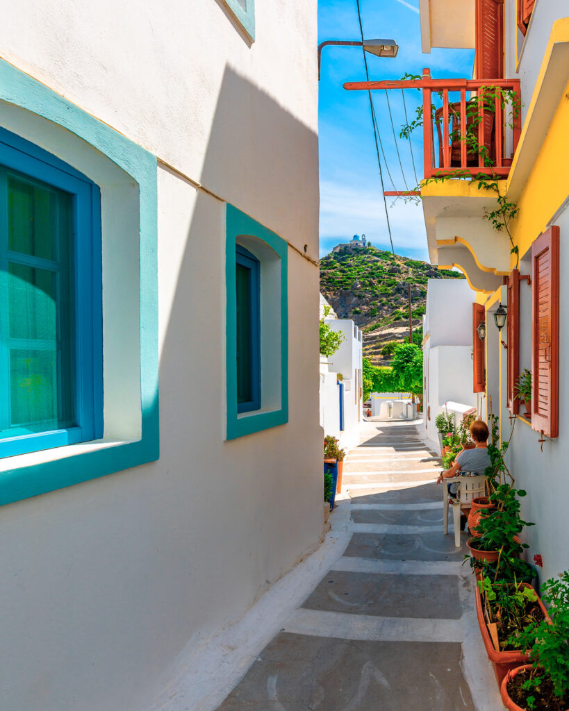 Street in Nikia village in Nisyros, Dodecanese Greece