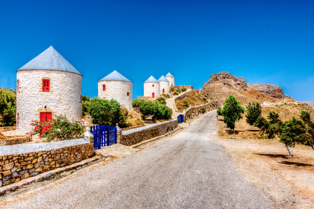 Old windmills in Leros island, Dodecanese Greece