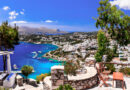 Panoramic view from a cafe in Leros island, Dodecanese Greece