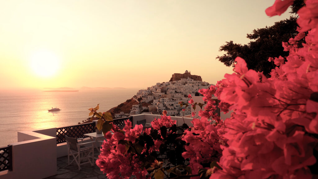 Picturesque view of the Venetian castle in Chora Astypalea, Dodecanese Greece