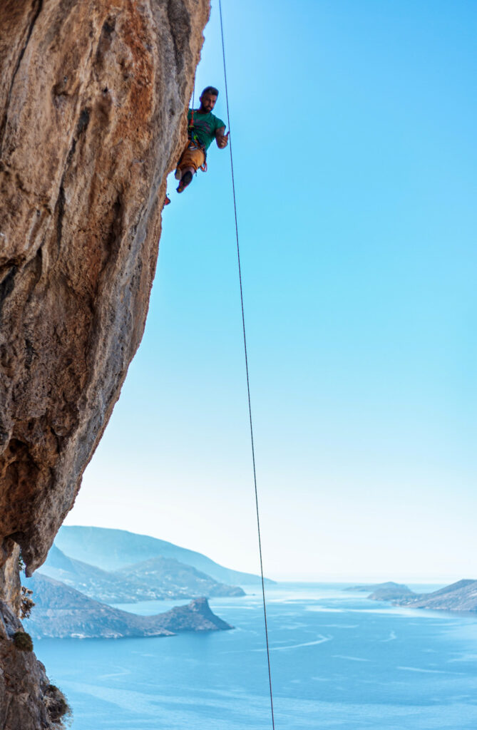 Rock climber in Kalymnos, Dodecanese, Greece