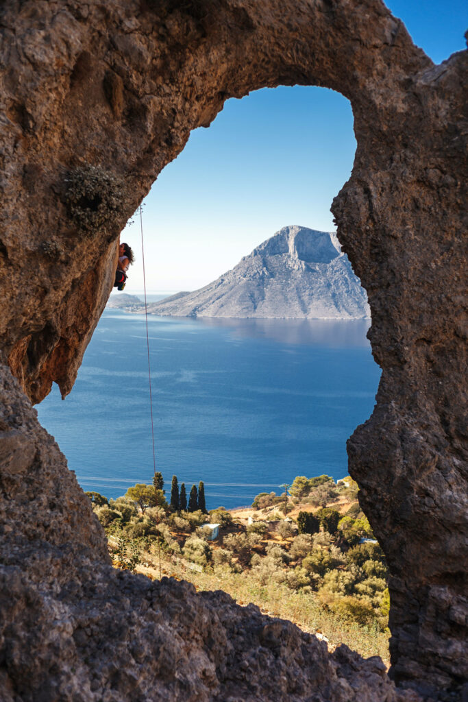 Rock climbing in Kalymnos, Dodecanese, Greece