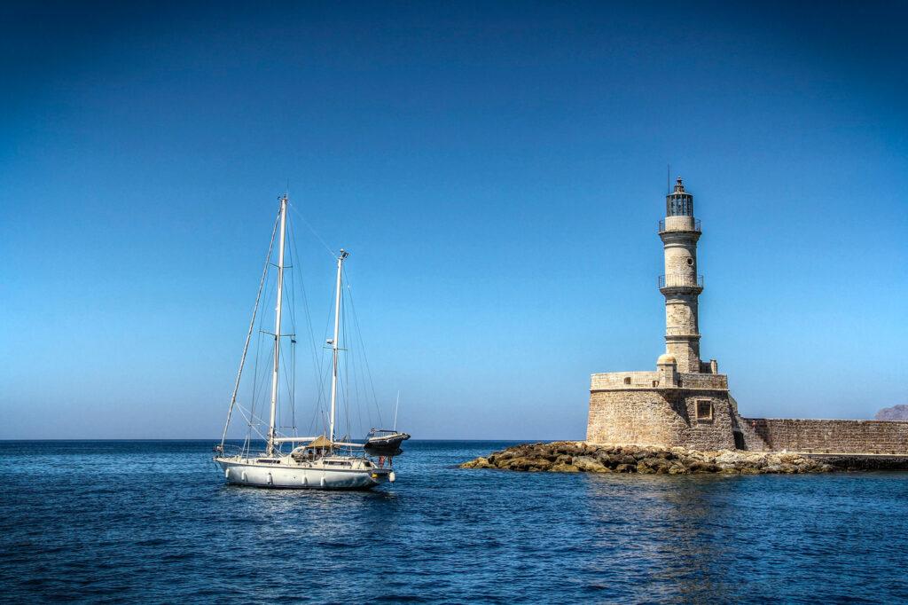 Sailboat in Chania port, Crete Greece