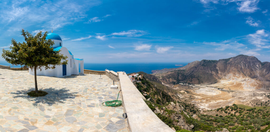 Stefanos crater, panoramic view fro Prophet Elias church in Nisyros, Dodecanese Greece