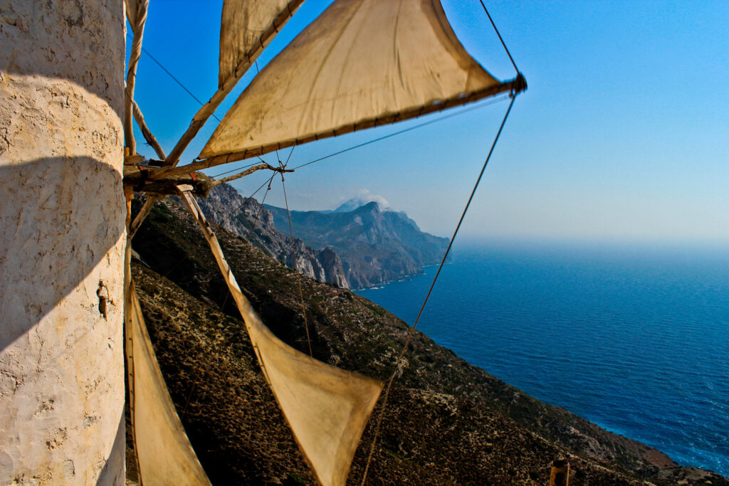 Windmill in Olympos village in Karpathos, Dodecanese Greece