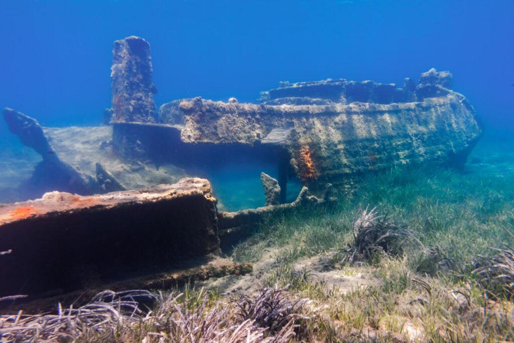 Shipwreck at Maltezana beach in Astypalea, Dodecanese Greece