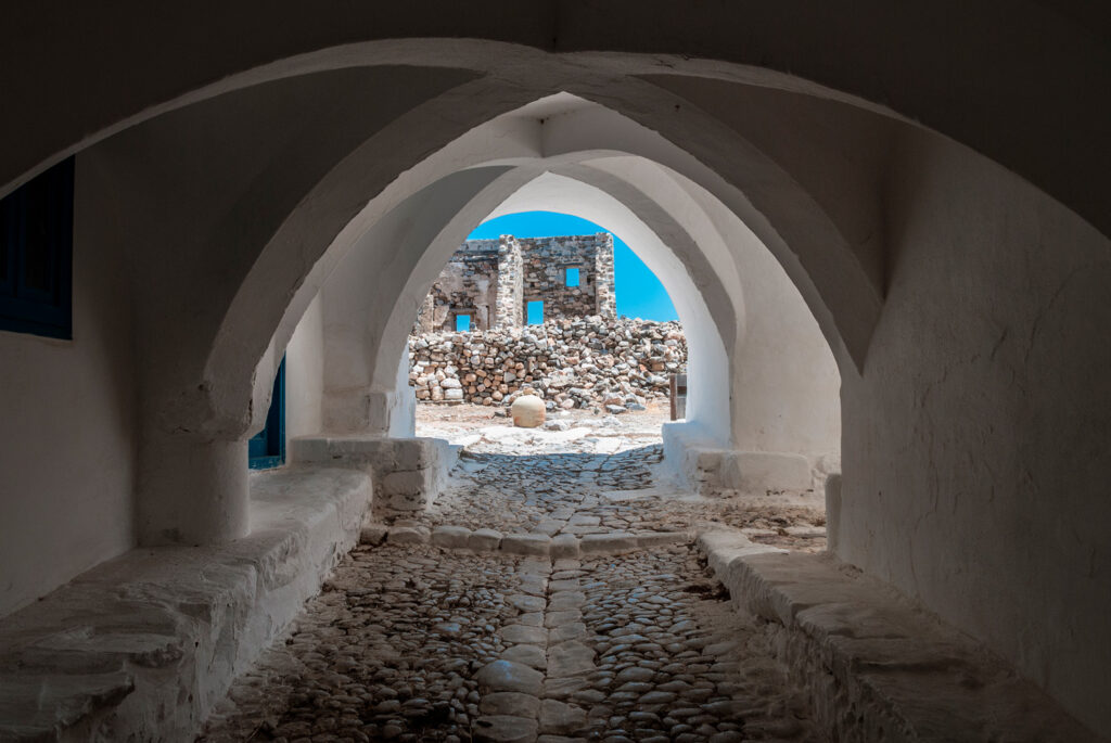 Castle gate in the Venetian castle of Chora Astypalea, Dodecanese Greece