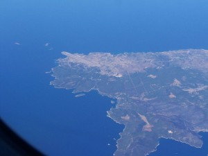 Skyros airport, aerial photo, Greece