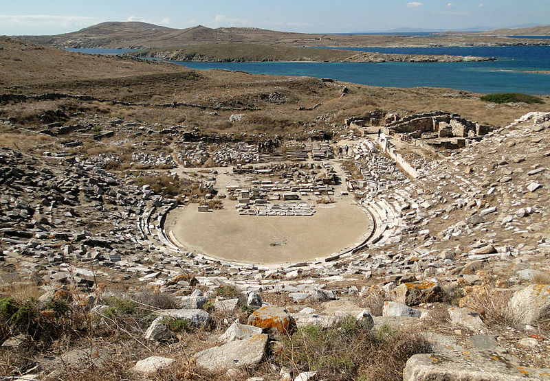 Ancient Greek theatre in Delos, Cyclades, Greece