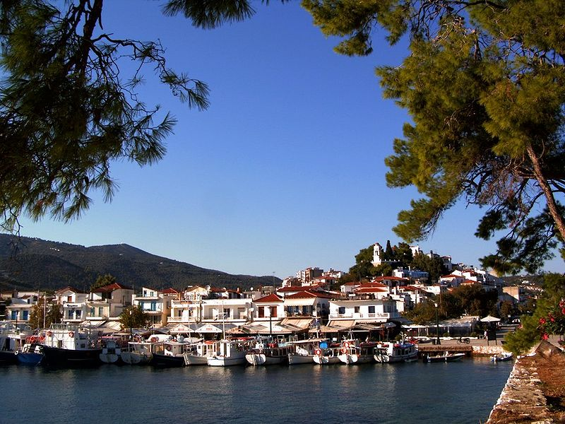 Another view of Skiathos harbor, Greece