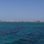 Antiparos seen from the ferry, Cyclades, Greece
