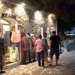 Antiparos stores by night, Cyclades, Greece