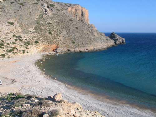 Chelatros beach on the southern coast of Kasos island, Greece