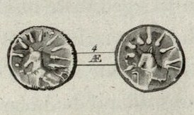 Coin from ancient Kea; with a dog and a star