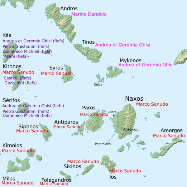 Cyclades islands (Delos is near the middle), Aegean Sea, Greece