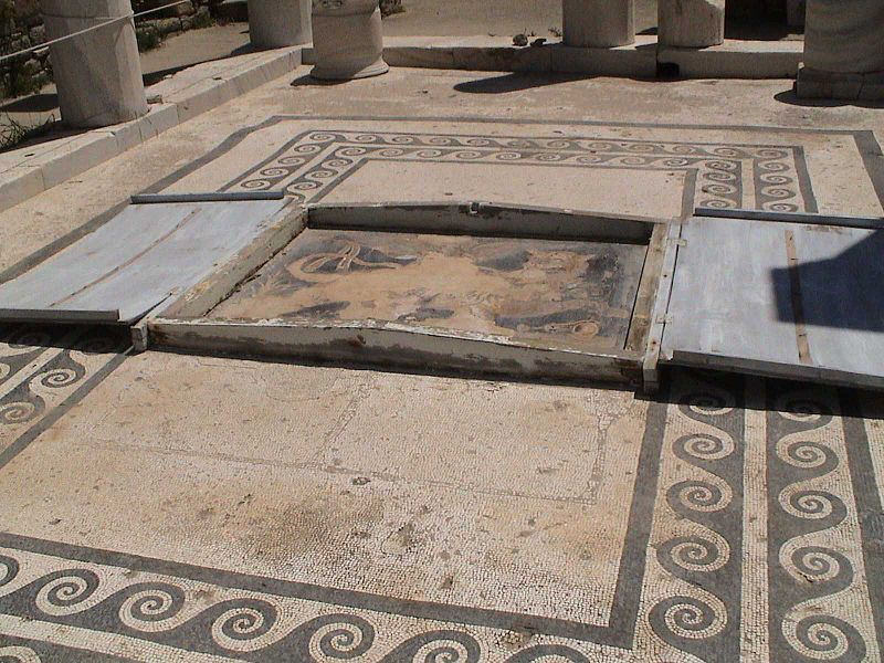 House with floor mosaic, Delos, Cyclades, Greece