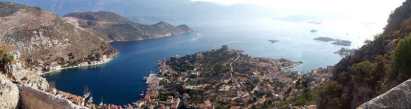 Panoramic view of Kastelorizo town, Dodecanese, Greece