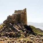 Ruins of an old windmill on Kimolos island, Greece