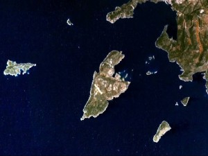 Satellite picture of Kastelorizo, Dodecanese, Greece