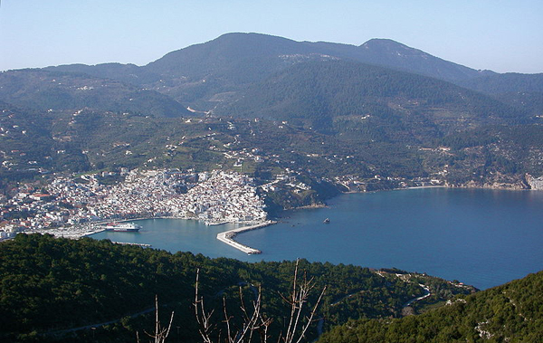 Skopelos island, view of port, Greece