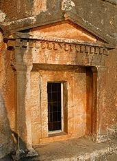 Stone-hewed Lycean tomb on Kastelorizo island, Dodecanese, Greece