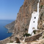 The Panagia Chosoviotissa monastery on the island of Amorgos, Greece
