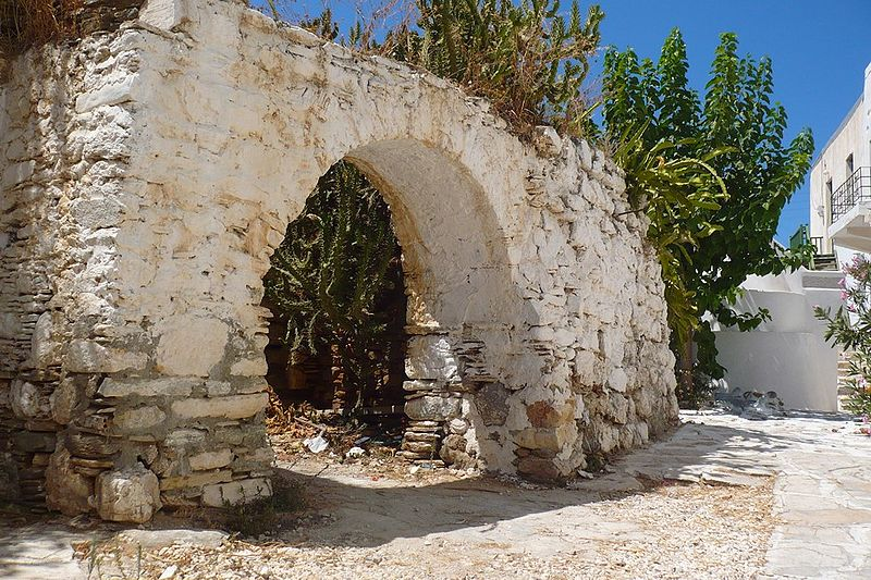 The base of the central tower of the castle, known as «Τhe House of the Prince», Antiparos, Greece