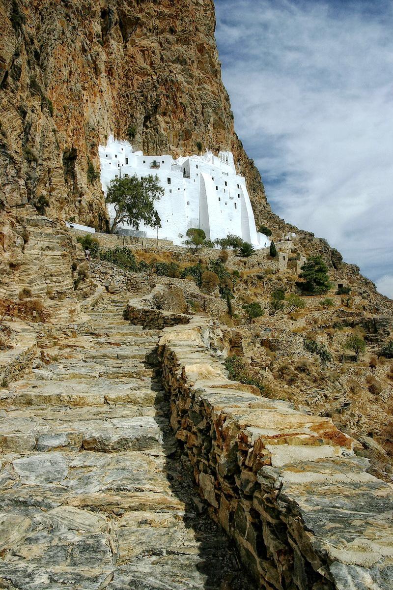 The cloister of Chozoviotissa Monastery, Amorgos - Photo by S. Lambadaridis
