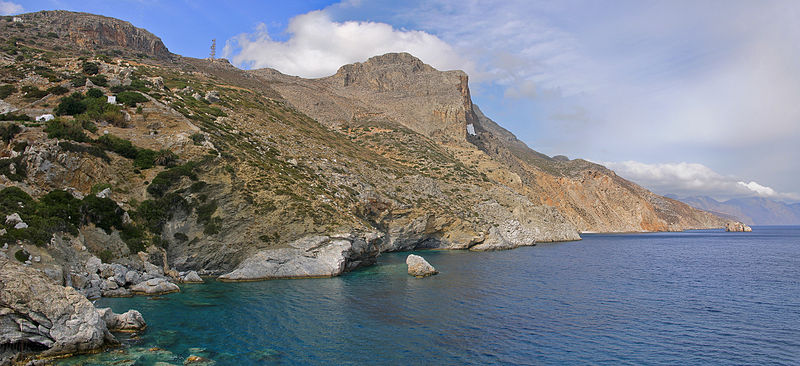 The eastern cliffs with the monastery of Panagia Hozoviotissa seen from Agia Anna