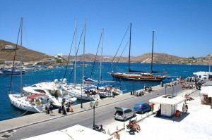 The harbour of Ios, Cyclades, Greece