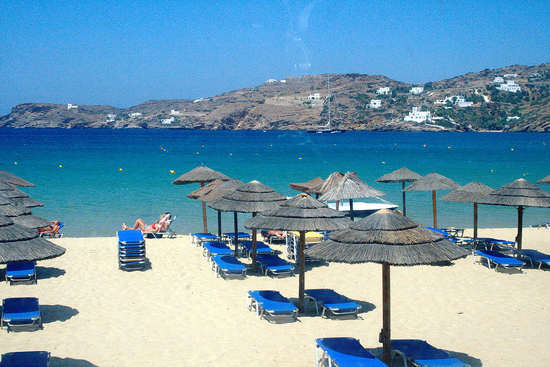 The popular Milopotas Beach on the island of Ios, Cyclades, Greece