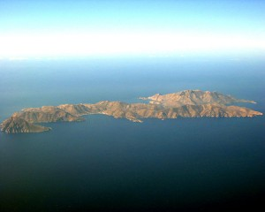 Aerial view of Tilos island, Dodecanese, Greece
