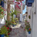 Traditional narrow streets of Skopelos, Greece