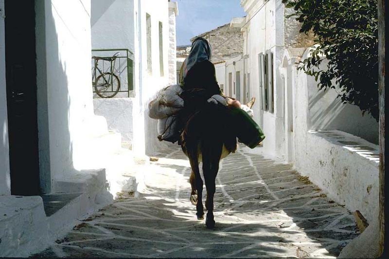 Village street in Driopida, Kythnos, Cyclades, Greece