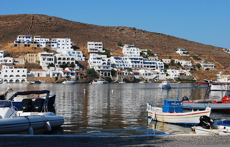 View of Merichas, the port of Kythnos, Greece