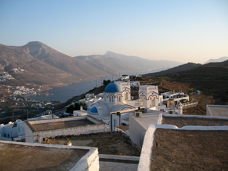 Village of Tholaria above Aigiali bay, Amorgos, Greece