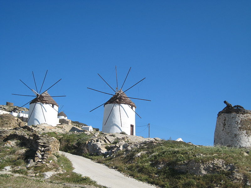 Windmills on Ios island, Cyclades, Greece