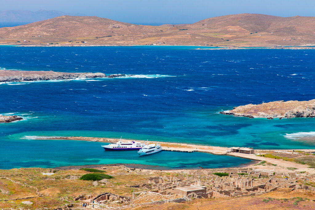 Delos, ancient sacred island near Mykonos, Cyclades, Greece