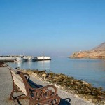 Emporios port has an organized beach with two tavernas, Kasos island, Greece