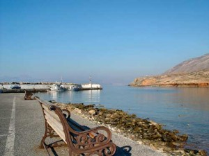 Emporios port has an organized beach with two tavernas, Kasos island, Greece