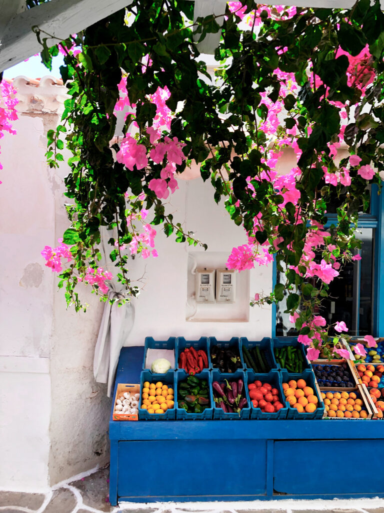 Green grocery store in Kythnos, Cyclades, Greece