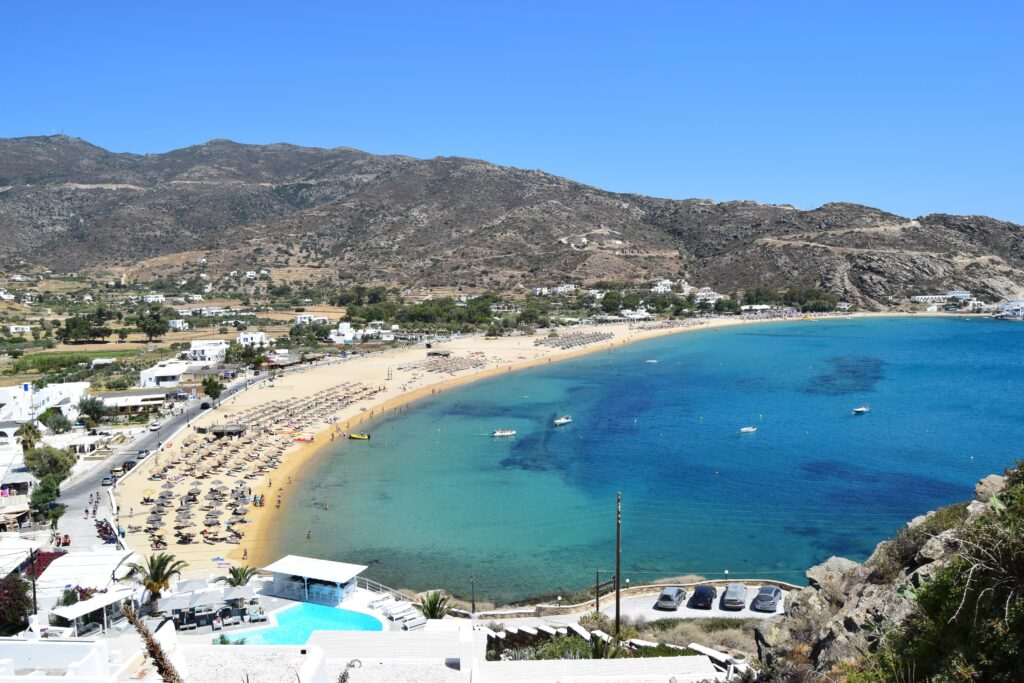 Travel to Ios, Greece - Panoramic view of Mylopotas Beach - Photo by Matthew Waring