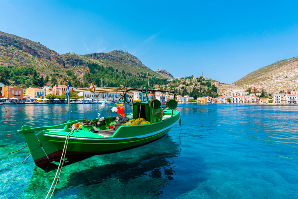 Fishing boat in the port of Kastellorizo (Megisti), Dodecanese Greece