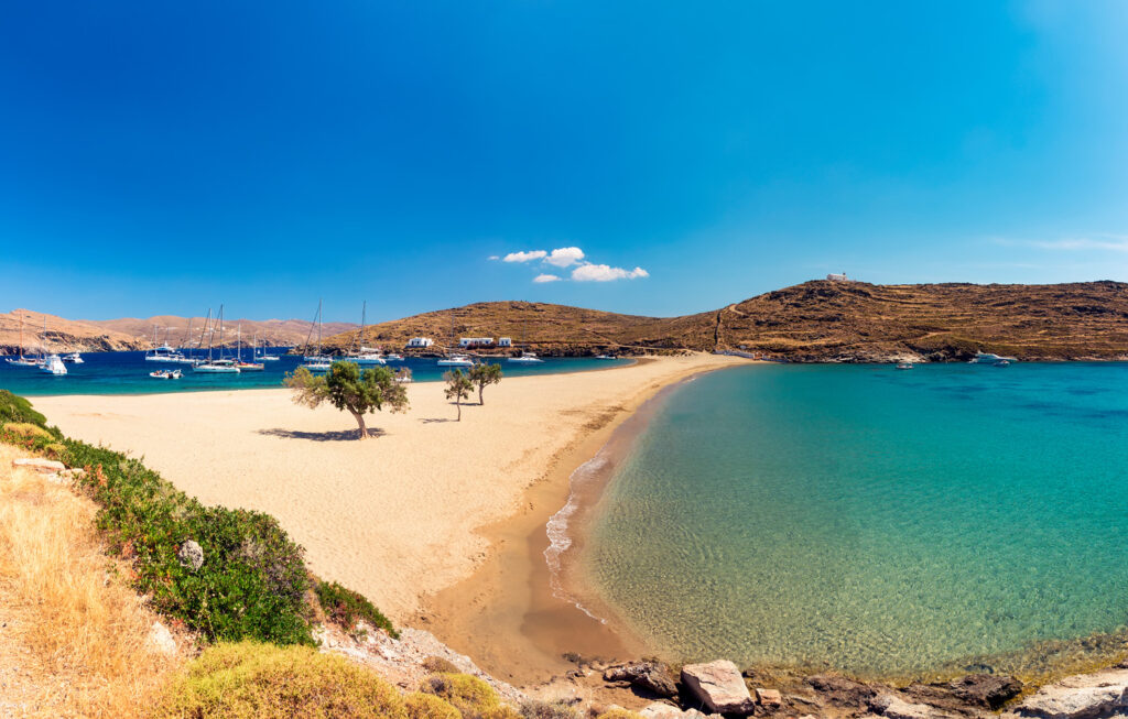 The exotic double bay beach of Kolona in Kythnos, Cyclades, Greece
