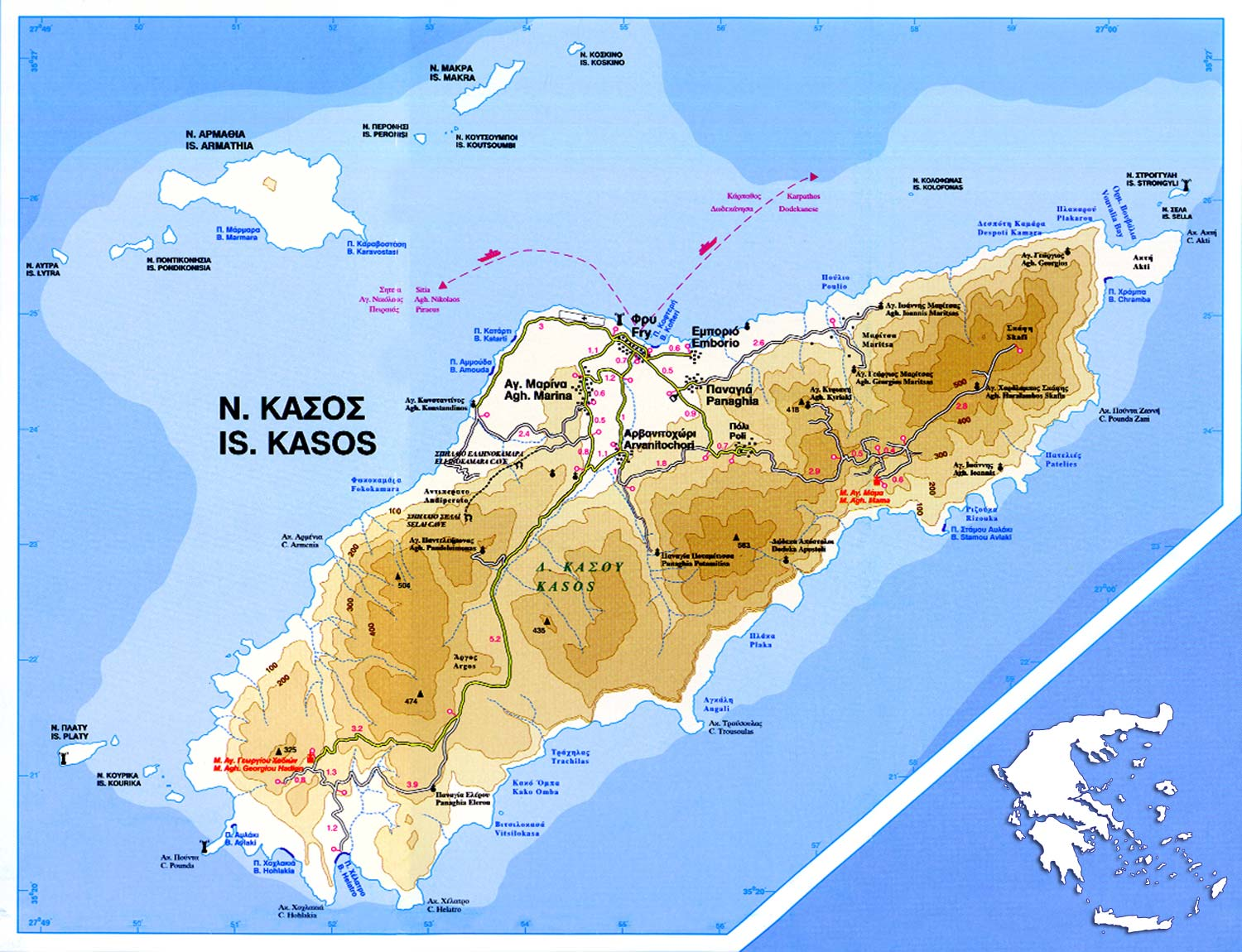 Map of Kasos island - Click to enlarge