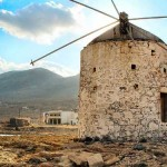 Old windmill on Kasos island, Dodecanese, Greece